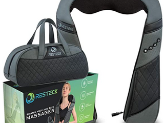 ZRESTECK SHIATSU NECK AND BACK MASSAGER  HEATING FEATURES  ADJUSTABlE lEVElS  AUTO SHUTOFF  DURABlE DESIGN  INClUDES CARRYING BAG