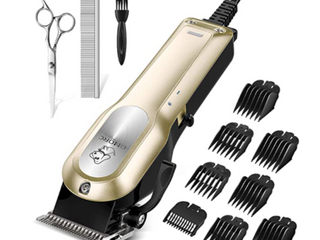 Omorc  Professional Pet Hair Clipper Kit  Heavy Duty Electric Dog Clippers  Easy To Operate  Powerful Whisper Quiet Motor  High Performance  Tug Free Balde  Eight Black Coded Guide Combs  low Noise Design