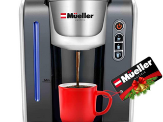 MUEllER AUSTRIA  SINGlE CUP CAPSUlES BREWER KC 21  Compatible with all single Cup capsules  10 oz  serving sizes With Cup clearance of 4 125  Easy to clean  1 touch start button  fast brew cycle 3 mintues  Auto shut off made from PBA free plastic