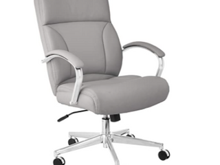 Modern leather Soft Executive Chair   300lb Capacity with Oversized Seat Cushion   Grey