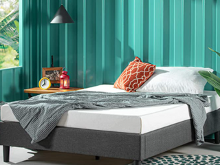 Zinus Curtis Essential Upholstered Platform Bed Frame  Full Grey