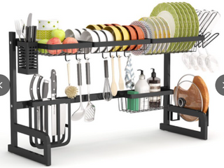 Gting  Expanddable Over Sink Dish Drying Rack   Black