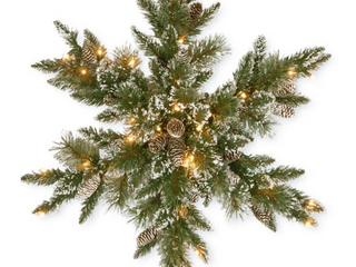 32  Glittery Bristle Pine Snowflake with Battery Operated Warm White lED lights