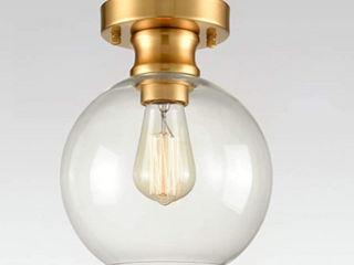 Axiland   Brass Ceiling Mount light   With White Globe