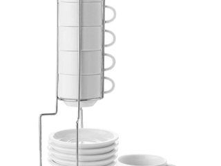 Sweese Porcelain Stacking Espresso 6 Cup Set With Stand And Saucers