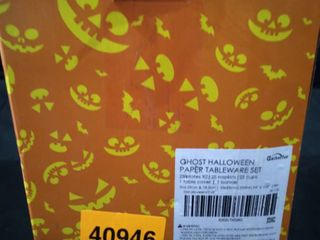 Gatherfun  Ghost Halloween paper tableware set 25 plates 25 napkins 25 cups one table cover
