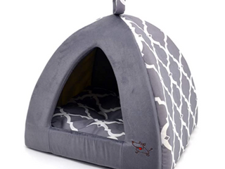 linen Tent Bed For Pets   Gray lattice X large