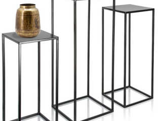 Kimisty   Trio Plant Stands   large Plant Stands   Set of Three   Black Metal