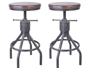 Set of Two   Industrial Bar Stools   Black Metal Wood