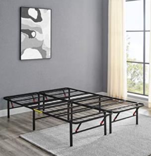 AmazonBasics AMZ 14BIBF Q Foldable Metal Platform Bed Frame Queen Size   Black