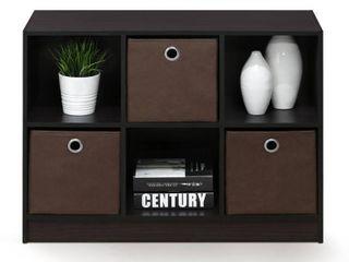 Furinno Basic 6 Cube Storage Organizer Bookcase Storage with Bins