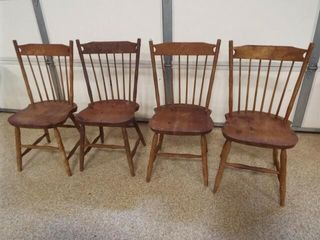 Spindle Back Wood Chairs  4