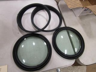 2 Oval car windows and brackets
