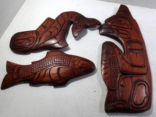 3 WEST COAST WOOD WAll CARVINGS BY CECIl WADHAMS