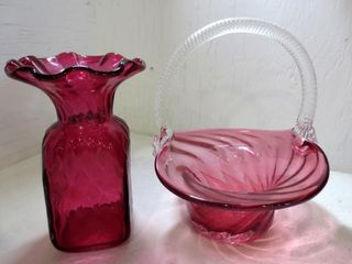 CRANBERRY GlASS VASE AND BASKET W WHITE HANDlE