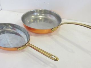 COPPER AND BRASS SKIllER AND FISH PAN
