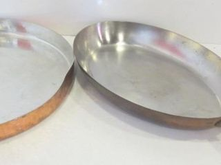 14  COPPER AND BRASS FISH PAN  14  ROUND COPPER
