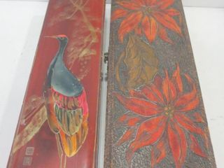 PAIR OF STORAGE BOXES   ONE ASIAN RED AND BlACK