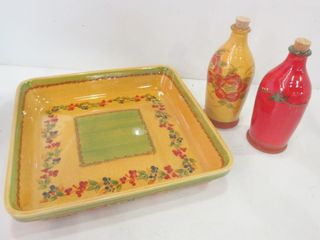 COMME TERRE FRANCE POTTERY   12  SQUARE PlATTER