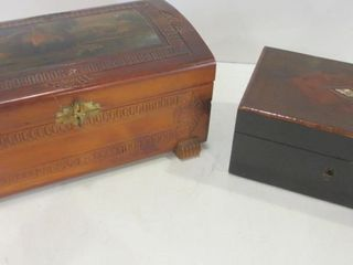 STORAGE JEWElRY BOXES   ONE HAS BURlED TOP