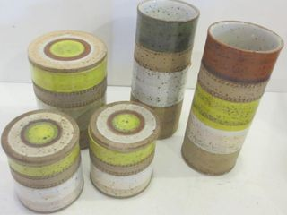 MID CENTURY MODERN DENBY  3 CANNISTERS W lIDS