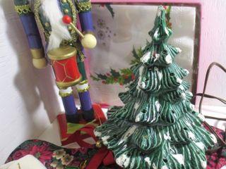 NUTCRACKER 14IN H  CERAMIC XMAS TREE 9 IN H