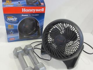 PAIR OF 5lB HAND WEIGHTS  HONEYWEll TABlE FAN