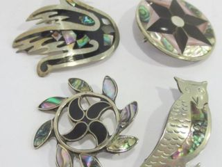 MEXICAN SIlVER BROOCHES WITH INlAY