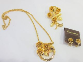 CONTINENTAl NECKlACE  ClIP ON EARRINGS AND BROOCH