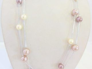 NECKlACE   BEADS ON SIlVER METAl CHAIN   28