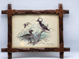 J  lockhart   Hooded Merganser  Wildlife Print in Hand Carved Wood Frame