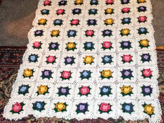 Vintage Crochet Afghan Granny Squares Blanket Throw with Colorful 3D Flowers 61  x 49