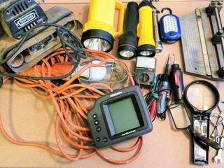 large Household Garage lot   Work light  Flashlights  Fish Finder  Craftsmen Belt Sander  Multimeter  Electric Tester   more