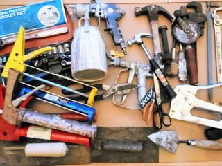 large Household Garage Home Improvement lot   Craftsman tools  Nu Mark pneumatic Paint Sprayer  Pipe wrench  Vintage Hand Drill   more