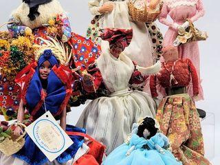 7  Vintage   Antique Folk Art Dolls