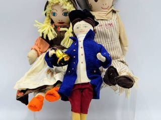 Vintage Tom Sawyer and Becky Thatcher Rag Dolls   Fabric and Felt Doll with Painted on Face