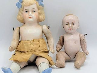 German Vtg Antique Bisque Jointed Doll   Bisque Jointed Baby Doll   Dollhouse Dolls