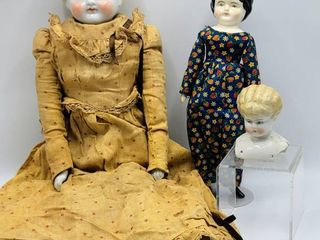 22  Vtg Antique Blonde China Head Doll with Original Dress  Blonde China Head   Vtg Small China Head Doll