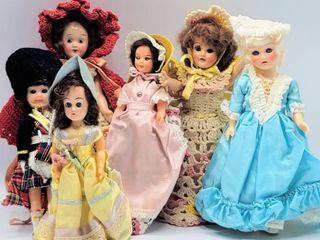 6  Vintage Mid Century Hard Plastic Dolls with Crochet Dresses   more