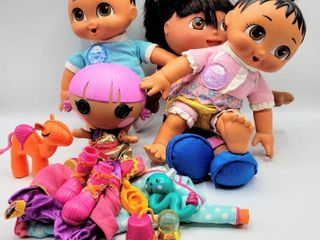 3  Dora the Explorer Dolls    1  lollapalooza Doll with Accessories