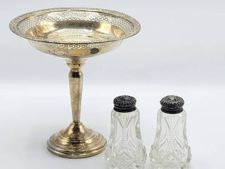 Sterling Silver weighted Pedestal Bowl Candy Dish   Set of Crystal Salt   Pepper Shakers