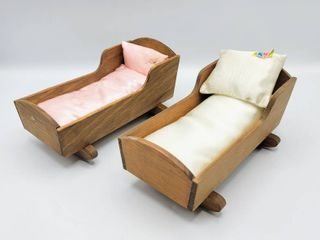 2  Wooden Doll Cradle Beds with Pillows   Mattress