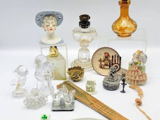 15  Piece lot of Variety of Vtg Antique Collectibles   The P A Mfg Co Acorn Mini Oil lamp  Hat Pin Holder  Hummel Plate  Crystal Figurines    more