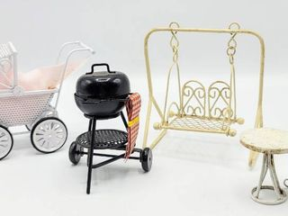 Dollhouse Miniatures   Charcoal Grill  Stroller  Swing   Table with Chair