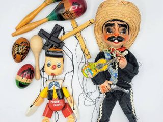 2  Wooden Marionettes   Pinocchio and a Mariachi   Maracas