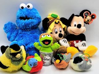 8  Plush Stuffed Animals Characters lot   Mickey Mouse  Cookie Monster  Oscar the Grouch   Birds