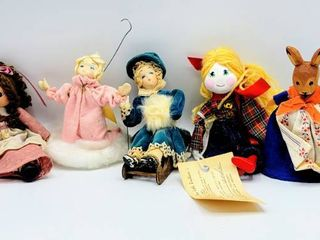 5  Folk Art   Artisan Dolls   German Wooden Handcarved Bunny  Prairie Doll  Kitty Carson Doll Factory   more