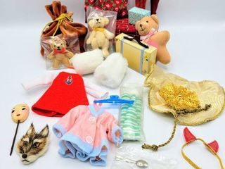lot of Doll Accessories   Including Doll Wolf Mask  Madame Alexander Doll Teddy Bears  Clothes   more