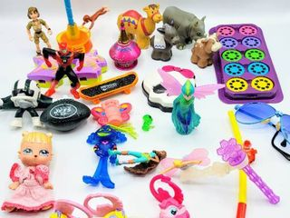 large lot of Vintage Toys   McDonald s Toys  Curious George  My little Pony  Figurines  Disney Miniature Viewmaster slides   Mattel Animals