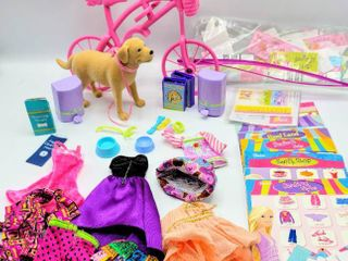 Barbie Fun lot   Pink Bicycle  Barbie Tanner Dog with Accessories   Barbie love To Shop Accessories